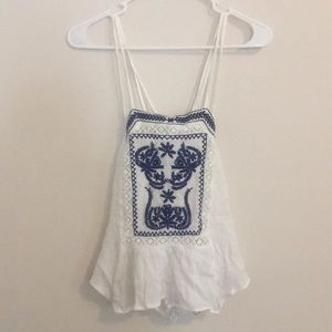 blue white embroidered tank NEW